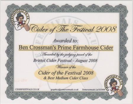 Bristol Cider Festival 2008 - Winner