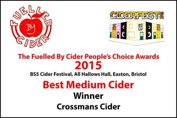"Fuelled By Cider - BS5 Cider Festival 2015 ""Best Medium Cider People's Choice Award"""